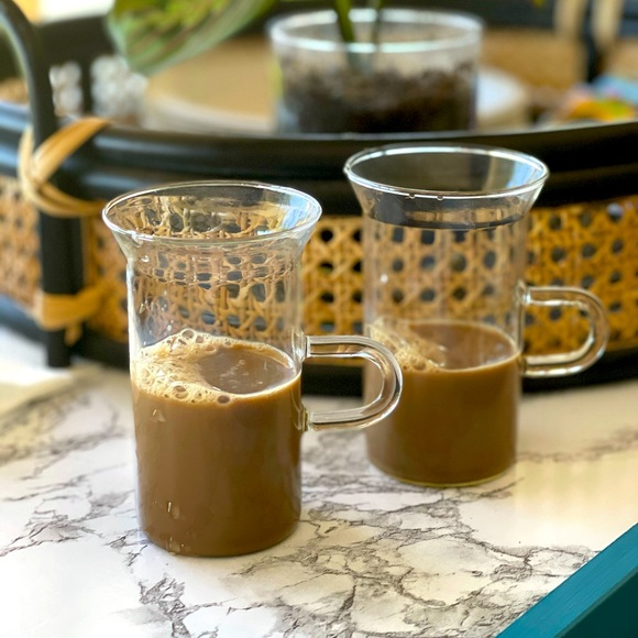 Vintage set of Coffee Tea Mugs Clear Glass Mondern